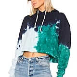 RE/DONE Originals Cropped Hoodie in Teal Tie Dye