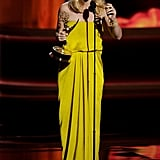 Expectant Homeland star Claire Danes accepted the Emmy for outstanding lead actress in a drama.