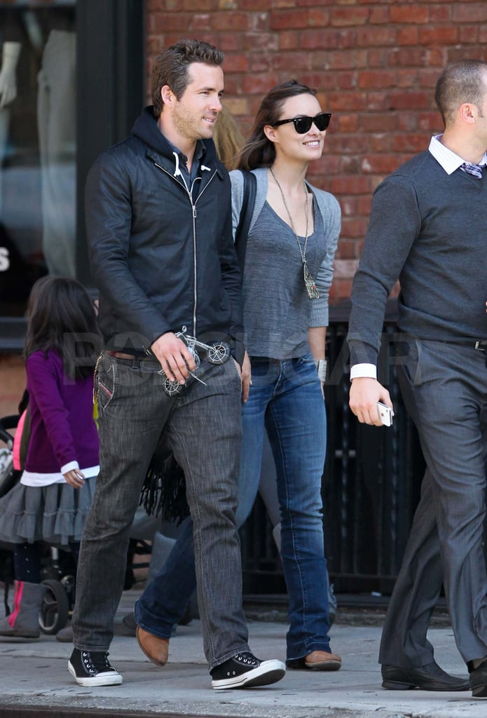 Ryan Reynolds and Olivia Wilde were side by side for a stroll around NYC's West Village over the weekend. The duo grabbed lunch at Sant Ambroeus before heading into an apartment building, and was later spotted out walking again in Tribeca. Ryan and Olivia, who starred together in The Change-Up, are both single after separating from their spouses within the last year. The stars have both been linked to multiple people since, with Ryan and pal Sandra Bullock rumored to be an item and Olivia reportedly dating Justin Timberlake, Bradley Cooper, and/or Ryan Gosling. Despite all the relationship drama, Ryan and Olivia have stayed busy working with Ryan currently filming R.I.P.D and Olivia promoting Butter.