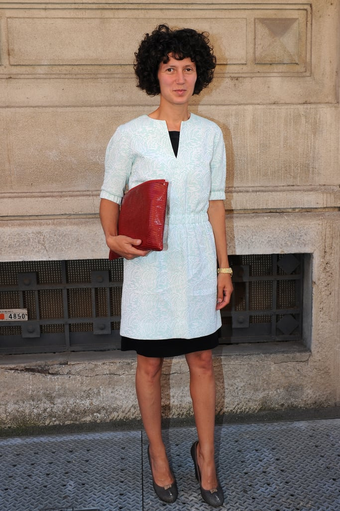 A simple dress paired with an eye-catching clutch.
