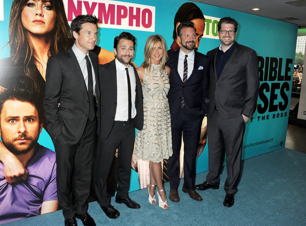 Jason Bateman, Charlie Day, Jennifer Aniston, Jason Sudeikis, and Seth Gordon at the London premiere of Horrible Bosses.