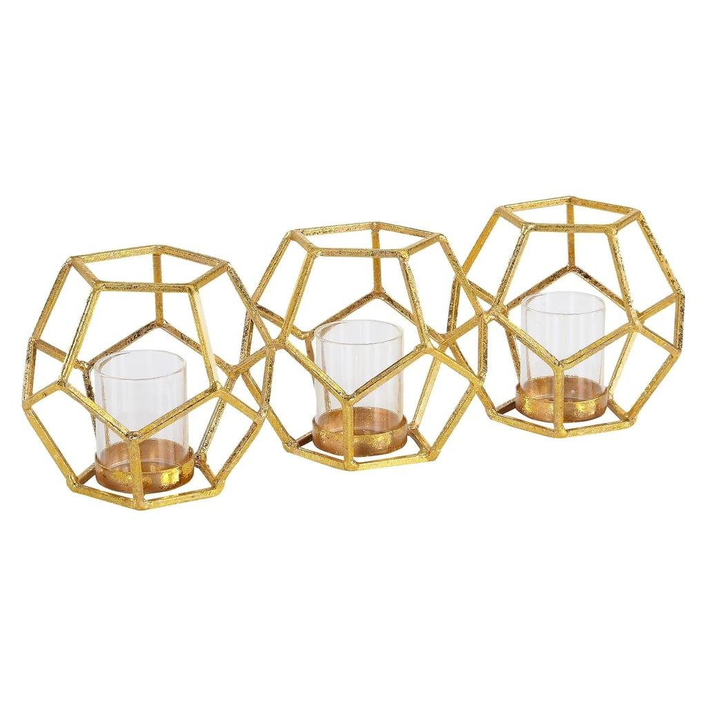 Sparkling Polyhedron Triple Candle Holder Gold