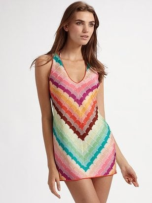 We love the u-neck and femme print.   Missoni Rainbow-Striped Cover Up, $650