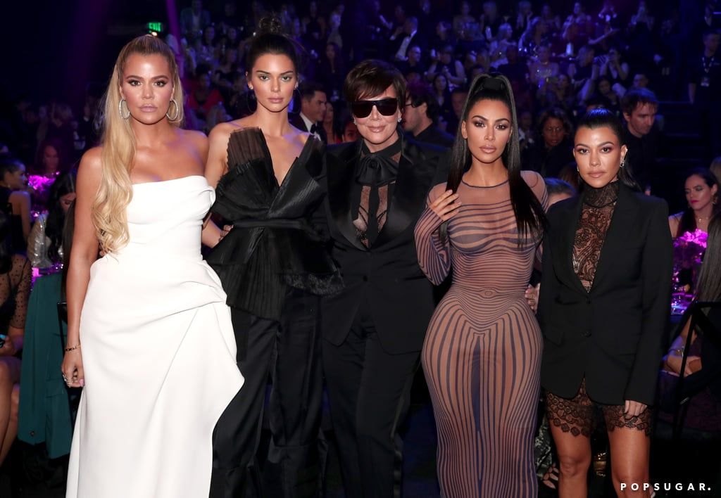 """The Kardashian-Jenner women made an appearance at the E! People's Choice Awards in LA on Sunday night. Kris Jenner was joined by four of her daughters — Kim, Khloé, Kourtney, and Kendall — and the group posed for pictures together during the award show. The women were among this year's nominees, and Keeping Up With the Kardashians won best reality show of 2018.  Kim spoke when they hit the stage to accept their award, and she took the opportunity to address the fires in California. """"Our hearts are broken from the horrific shootings and those who have lost their lives and homes as well as the hundreds of thousands of us who have been forced to evacuate from the devastating fires that are currently burning,"""" she said. Kim thanked the firefighters and first responders, saying, """"It's been amazing to see the resilient spirit of everyone involved."""" Finally, she stressed that """"action is necessary"""" and """"no form of help is too small."""" Keep reading to see all the pictures of the family at the E! People's Choice Awards, then find out how you can help those in California."""