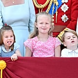 Pictured: Princess Charlotte, Savannah Phillips, and Prince George.