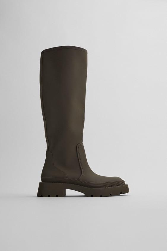 Zara Low Heel Rubberized Boots