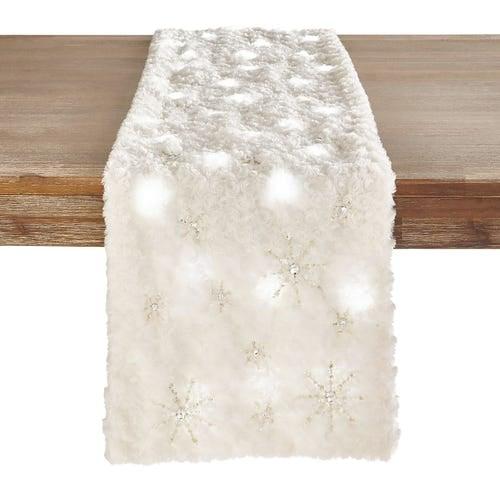 """LED Light-Up Snowflake 72"""" Table Runner"""