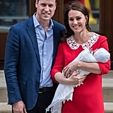 "Sweetly, Prince Louis was wrapped in the same knitted blanket that had been used with both of his siblings and wore the same bonnet that Princess Charlotte wore after her birth. But the newborn's ""outfit"" was second in interest to Kate's. She once again selected a dress by designer Jenny Packham, this time a red shift with a peter pan collar. Immediately comparisons to the red dress Princess Diana wore following the birth of Prince Harry were made, with most assuming Kate's bold choice was an intentional tribute to William's late mother.  If Kate was even aware of the commentary being made about her, she kept her cool and owned her brief appearance outside the hospital, like she did with the others. The third-time mom appeared happy, relaxed, and even more so this time — ready to get back home!"