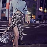 UO Leopard Print Button-Down Midi Skirt