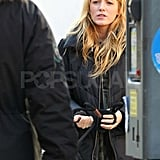 Blake Lively on the Gossip Girl set in NYC.