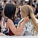 Rosario Dawson and Mireille Enos shared a sweet moment at The Captive's photocall.