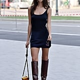 Emily Ratajkowski Wore a Bevza Dress and Carried a Montunas Bag During MFW