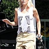 Gwen Stefani hopped out of the car in Burbank, CA.