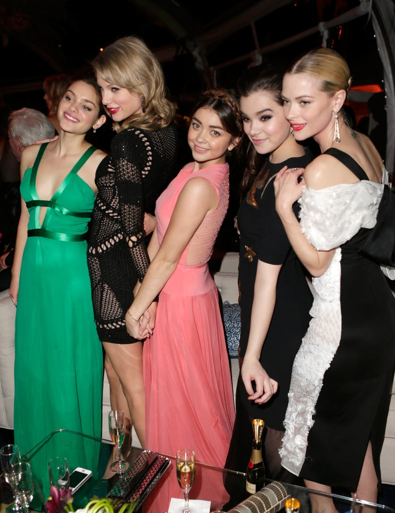 Ladies' night! Odeya Rush, Taylor Swift, Sarah Hyland, Hailee Steinfeld and Jaime King grouped up at The Weinstein Company's 2014 Golden Globes after-party.