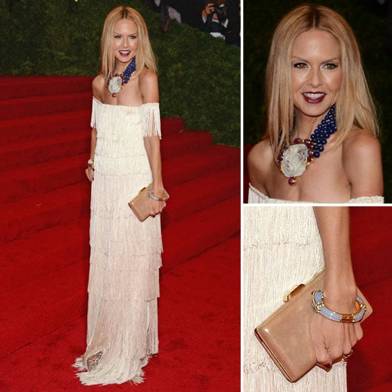 Pictures of Rachel Zoe in Fringed White Rachel Zoe Collection Dress on the Red Carpet at the 2012 Met Costume Institue Gala