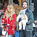 Sienna Miller and Tom Sturridge showed their daughter, Marlowe Sturridge, the London holiday decorations.