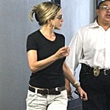 Jennifer Aniston leaves an LA office building.