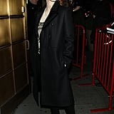 When in doubt, go with a chic black long coat á la Jessica Chastain. Then, go for an edgier shoe, like her lace-up Givenchy wedges, in order to seal the deal on what is sure to be a dark casual-glam look.