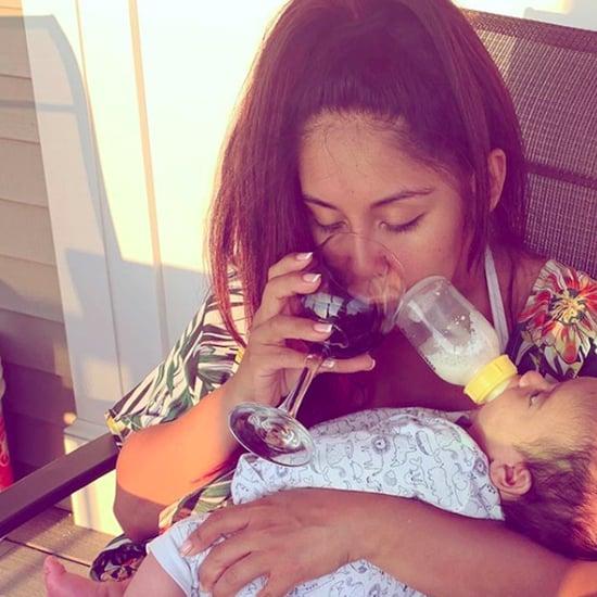 Snooki Drinks Wine While Bottle Feeding Son