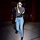 Kendall Jenner Wore a Gray T-Shirt That Featured Leather Accents