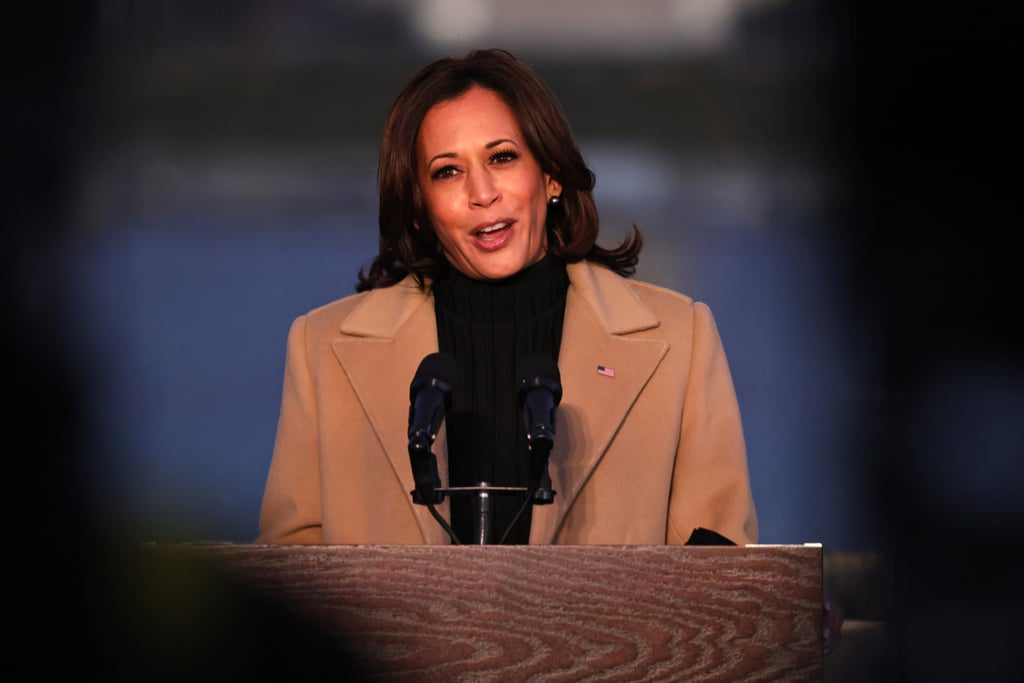 "On the eve of Joe Biden's inauguration, Biden and incoming vice president Kamala Harris attended a ceremony to honor COVID-19 victims. They were joined by their spouses at the Lincoln Memorial, where 400 lights were illuminated around the reflecting pool to represent the 400,000 Americans who have died from the virus. As Kamala delivered a speech paying tribute to the lives lost and calling for the nation to begin healing together, she wore a Pyer Moss coat that also held significance. When hospitals were experiencing a dire shortage of PPE at the beginning of the pandemic, Kerby Jean-Raymond, the Haitian-American designer and founder behind fashion label Pyer Moss, quickly converted his New York office into a donation center and donated $5,000 to purchase masks and gloves. The designer also set aside $50,000 for minority and women-owned small creative businesses that were distressed by COVID-19. The vice president-elect's purposeful decision to wear a coat by a designer who stepped up to contribute to COVID-19 relief certainly bears a special meaning. As New York Times chief fashion critic Vanessa Friedman put it, ""It's not about fashion. It's about values."" Kamala paired the camel coat with a simple black sweater dress from Oscar de la Renta and leather boots. Jill Biden similarly set the tone with her ensemble, a purple ""Unity"" dress and wrap coat combo with a matching mask made from leftover material, all by Jonathan Cohen, an independent New York designer. The future first lady's outfit not only represented unity in the name of her pieces, but also in the color purple's significance in politics. Get a closer look at Kamala and Jill's meaningful choices ahead."