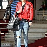 What's better than leather? Red leather. The star added major pizzazz to her distressed denim with a fierce leather Simone topper during a March 2011 trip to Paris. Her coveted Céline tote and House of Harlow 1960 shades weren't bad either.
