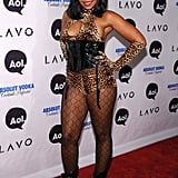 Ashanti dressed as a leopard in some racy lingerie.