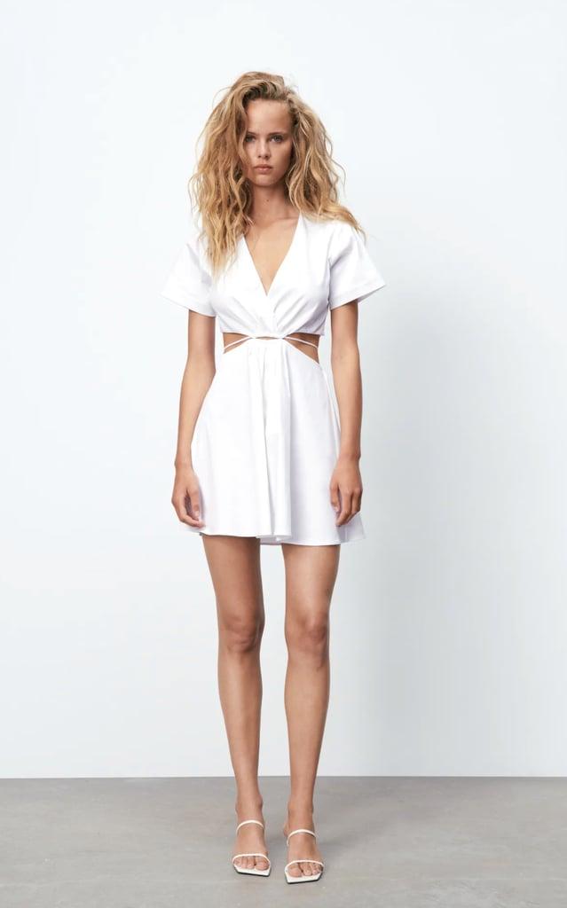 Zara Poplin Cut-Out Dress