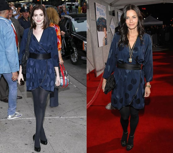 Courteney Cox and Anne Hathaway Both Wear Marc Jacobs' Navy Wrap Dress