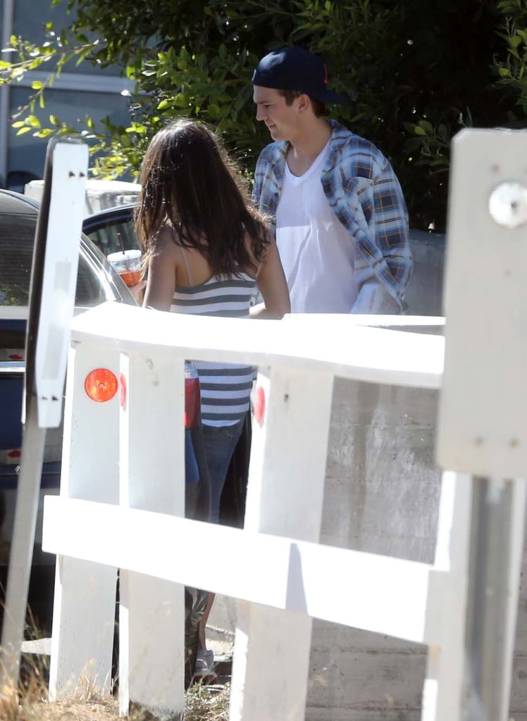 Ashton Kutcher and Mila Kunis got into the car together in LA.