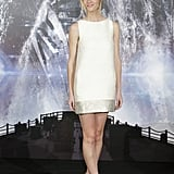 Brooklyn Decker continued her style tour in a Giambattista Valli minidress at the latest press call for Battleship.