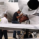 George Clooney boarded a private jet.