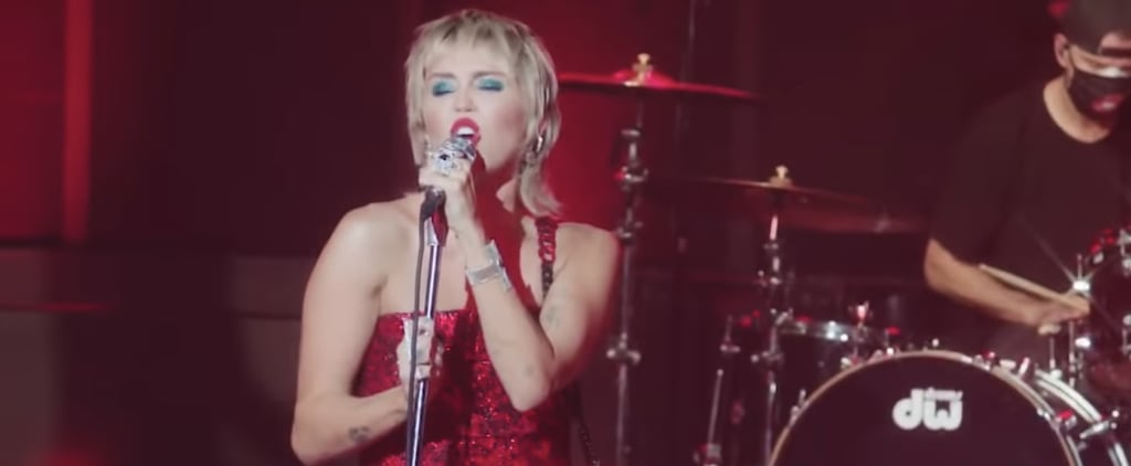 """Miley Cyrus Wearing Red Dress to Perform """"Man Eater"""""""