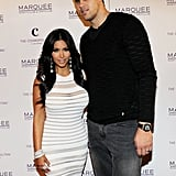 Kris Humphries and Kim Kardashian posed on the red carpet at Marquee.