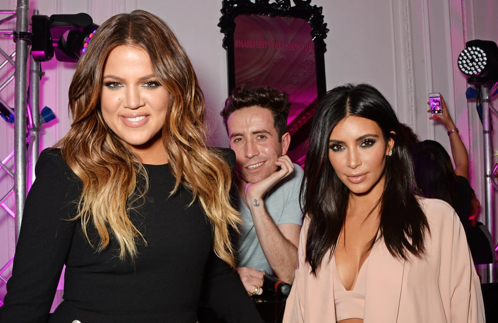 Nick Grimshaw attempted to take the spotlight away from Khloé and Kim Kardashian at the Hairfinity UK launch.