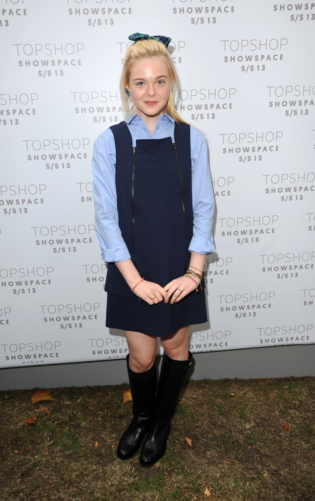 Elle Fanning did a cool-girl spin on schoolgirl styling at Unique's Spring show.