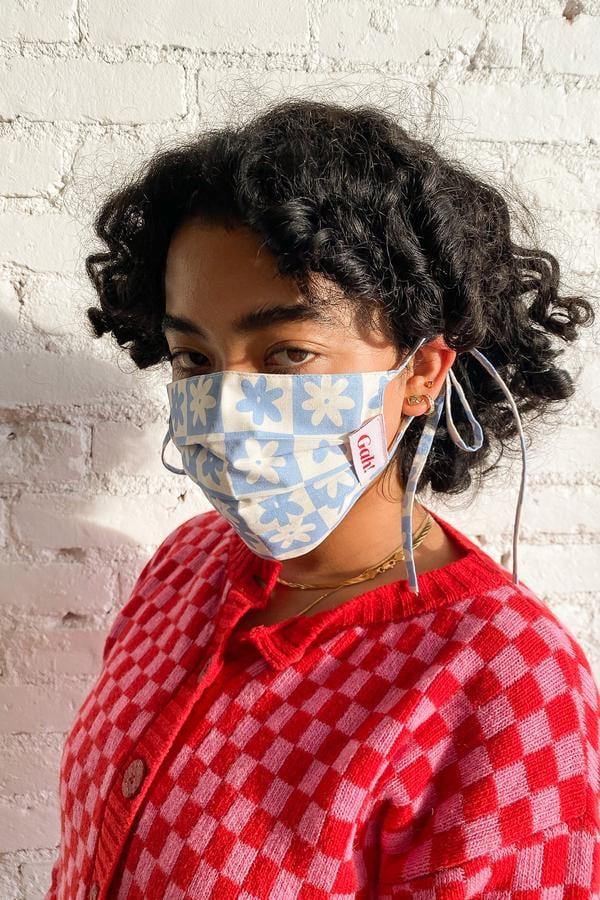 Lisa Says Gah! x KJP Woven Mask - Blue Daisy Check
