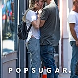 Aaron Paul and Lauren Parsekian Kissing in NYC August 2016