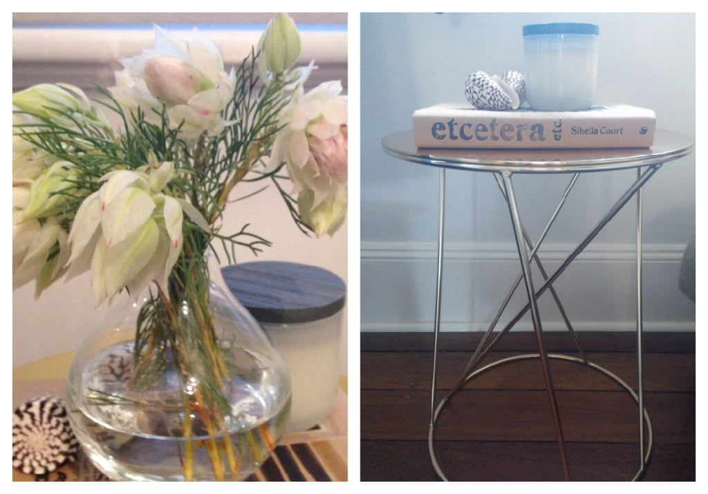 My favourite little side table in our living room, made all the more pretty thanks to a bunch of blushing bride blooms.