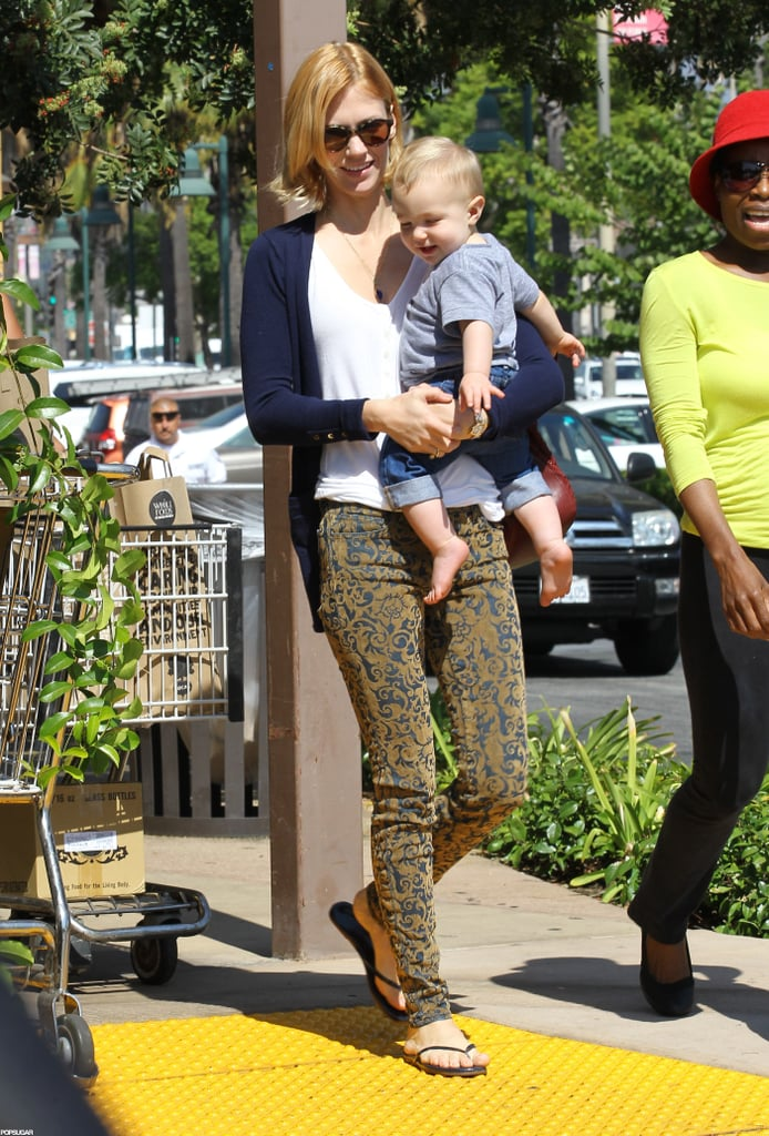 January Jones smiled with baby Xander leaving an LA Whole Foods.