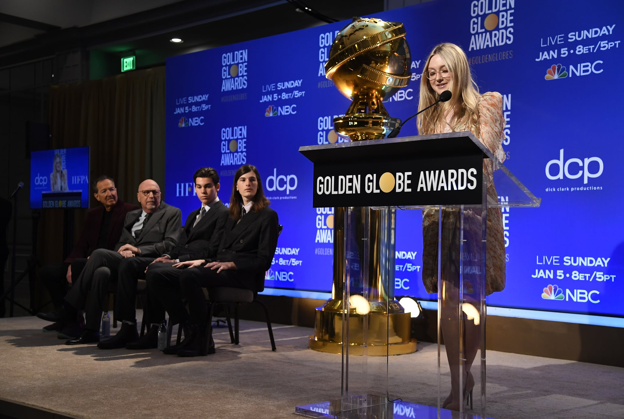 BEVERLY HILLS, CA - DECEMBER 09: Presenter Dakota Fanning speaks at the 77th Annual Golden Globe Awards Nominations Announcement at The Beverly Hilton Hotel on December 9, 2019 in Beverly Hills, California. (Photo by Kevork Djansezian/Getty Images)