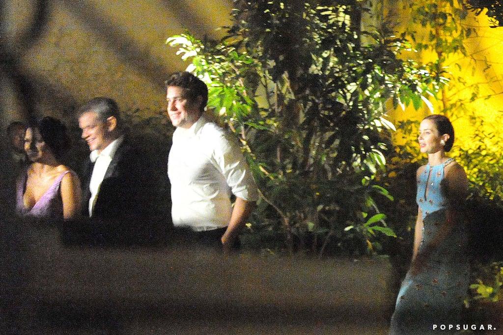 John Krasinski and Matt Damon walked with their wives, Emily Blunt and Luciana.