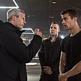 Director Neil Burger gave direction to Theo James and Jai Courtney (who plays Eric) on the set.