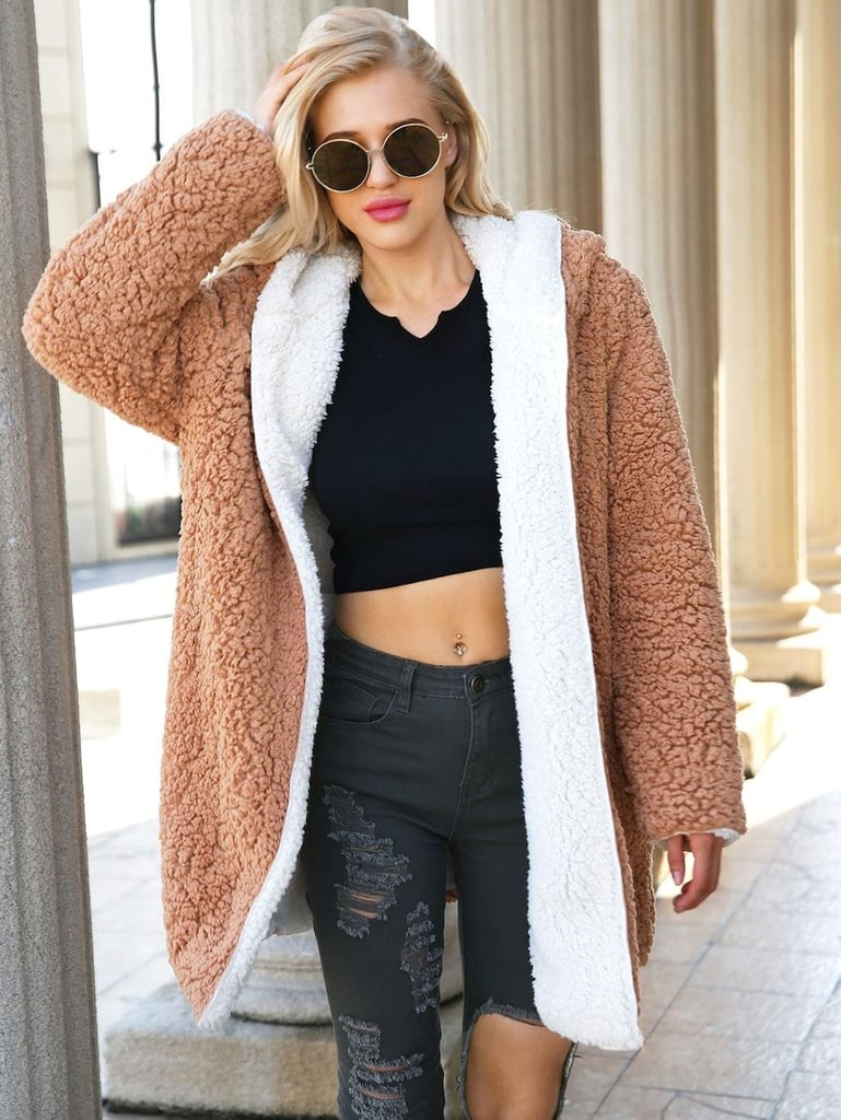 SheIn Reversible Hooded Teddy Coat