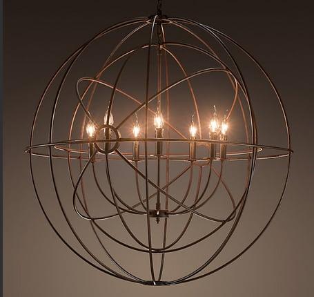 Foucault's Twin Orb Chandelier ($1,600)  is a take on the gyroscope, created by 19th-century experimental physicist Léon Foucault.