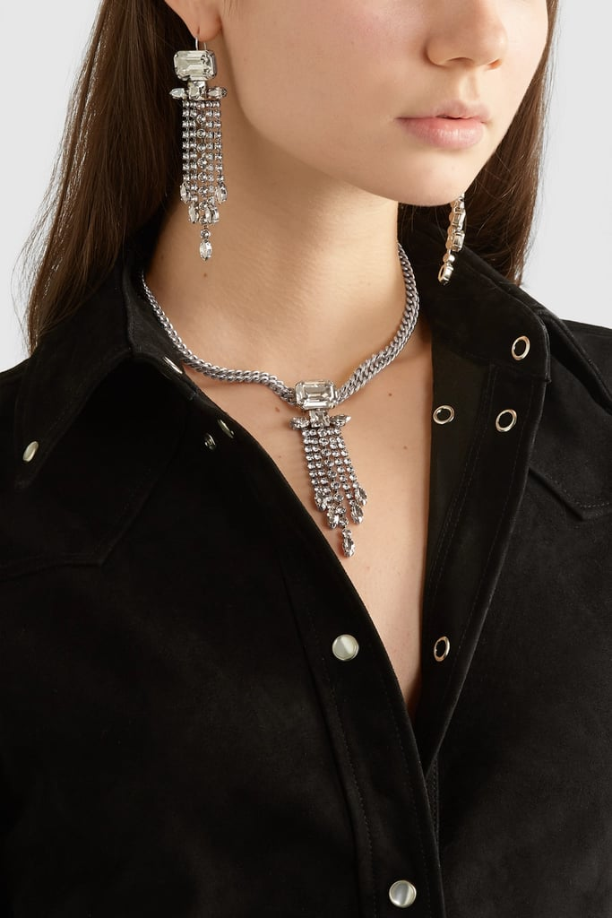 Isabel Marant Silver-tone crystal necklace and earrings set