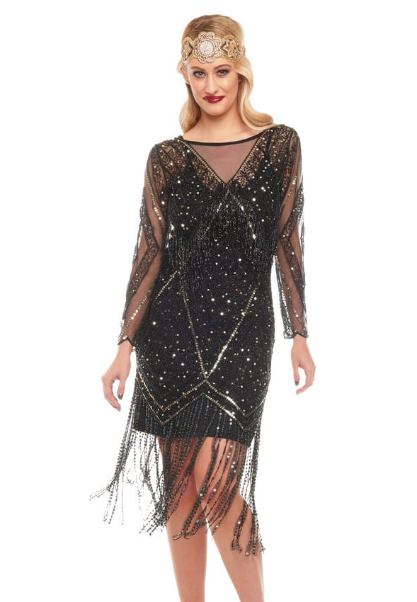 Art Deco Hand Embellished Fringe Dress