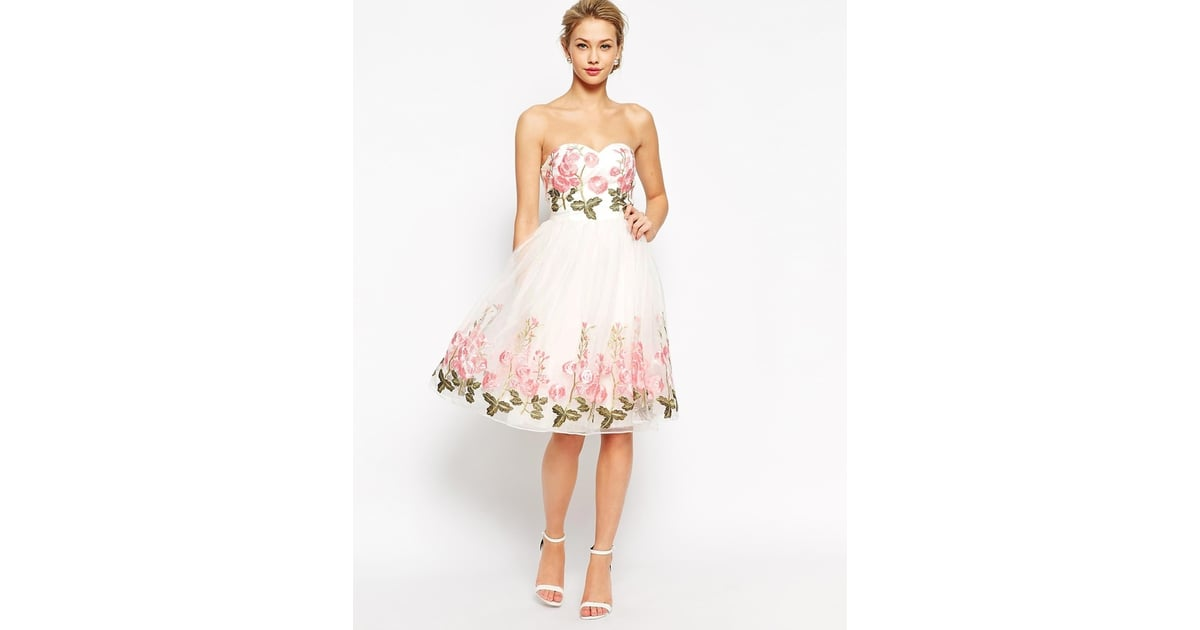 Chi Chi London Bandeau Full Prom Dress With Floral