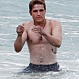 Josh Hutcherson splashed around on set.