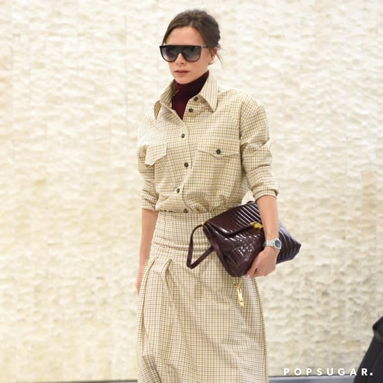 Victoria Beckham Wearing Checked Skirt and Shirt